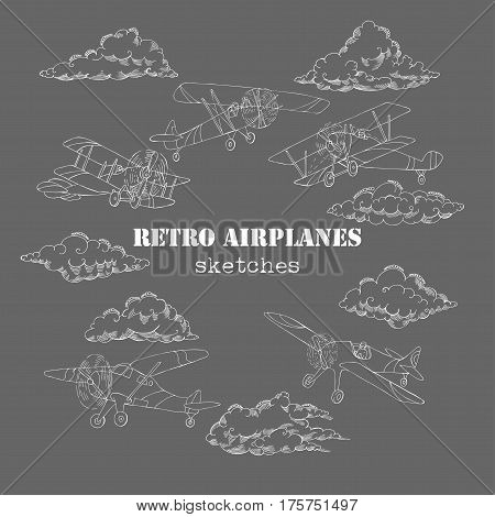 Background with Retro Airplanes and Clouds. Hand drawn sky vector illustration