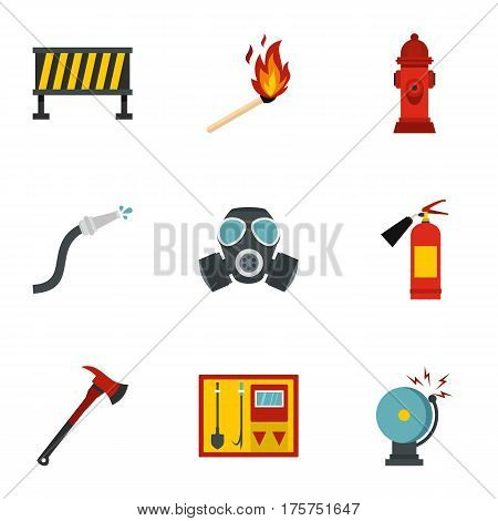 Fire emergency icons set. Flat illustration of 9 fire emergency vector icons for web
