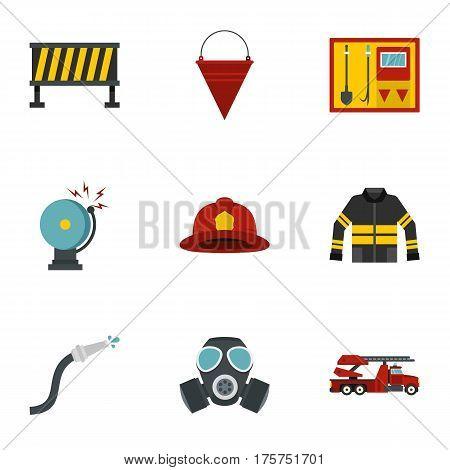 Fireman icons set. Flat illustration of 9 fireman vector icons for web