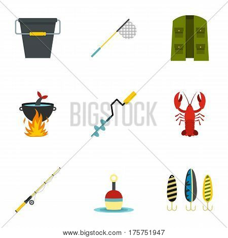 Fishing tackles icons set. Flat illustration of 9 fishing tackles vector icons for web