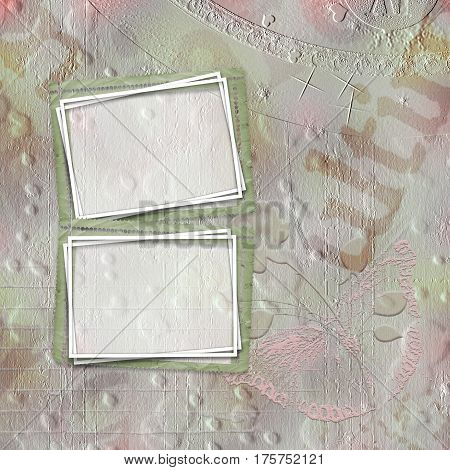 Old paper frame for congratulations or invitation on abstract multicolored background