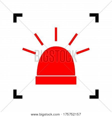 Police single sign. Vector. Red icon inside black focus corners on white background. Isolated.