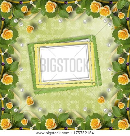 Beautiful Greeting Card With Bouquet Of Yellow Roses, Ribbons