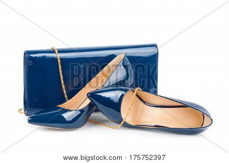 Beautiful Blue Shoes With Clutches On White Background