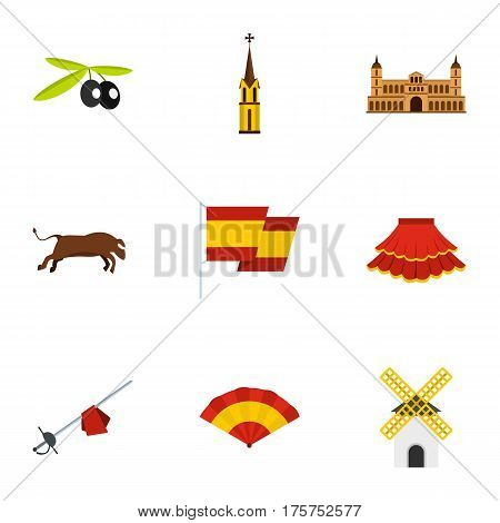 Spain travel icons set. Flat illustration of 9 Spain travel vector icons for web
