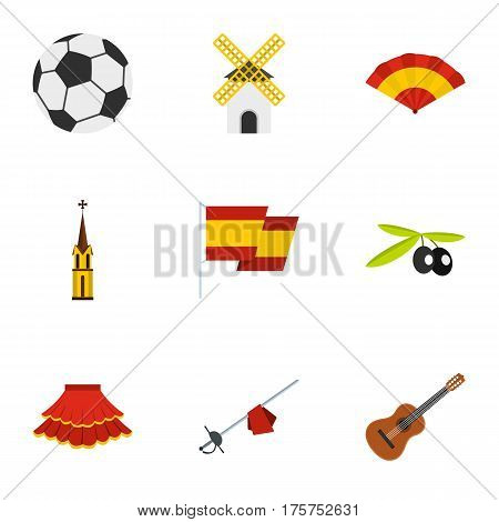 Sights of Spain icons set. Flat illustration of 9 sights of Spain vector icons for web