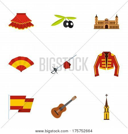 Spanish elements icons set. Flat illustration of 9 spanish elements vector icons for web