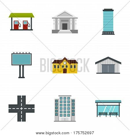 Urban infrastructure icons set. Flat illustration of 9 urban infrastructure vector icons for web