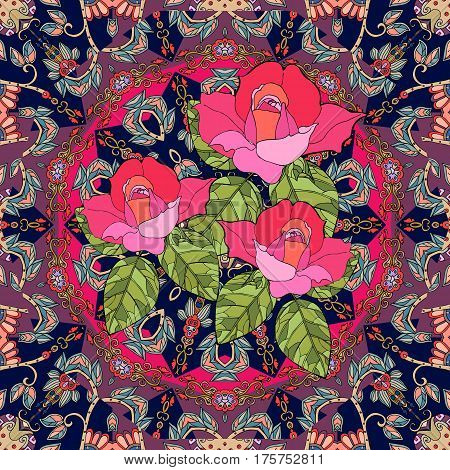 Bouquet of roses on flower - mandala. Beautiful seamless pattern in ethnic style. Pillowcase.