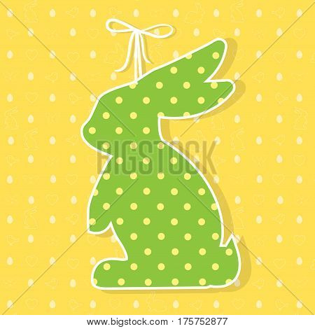 Easter paper decoration in the form of bunny. Easter green bunny and seamless pattern with holiday symbols rabbits, eggs, birds, hearts, butterfly for invitations, posters and easter cards