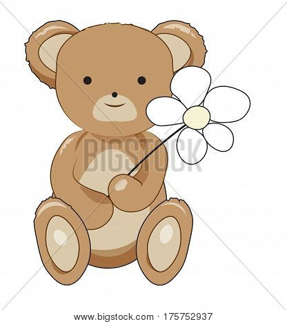 The lovely teddy bear congratulates on a flowerteddy bear toy soft bear cub brown flower animal congratulation holiday picture vector drawing darling gentle shop