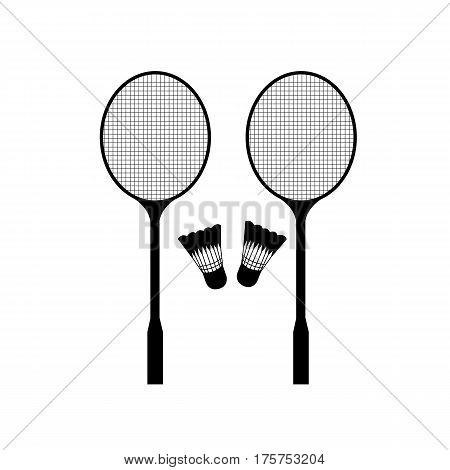 Badminton rackets and badminton balls on a white background.
