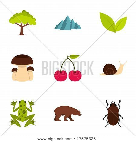 Plant, animal, insect icons set. Flat illustration of 9 plant, animal, insect vector icons for web