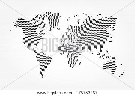 World map and whorl line . vignette background .