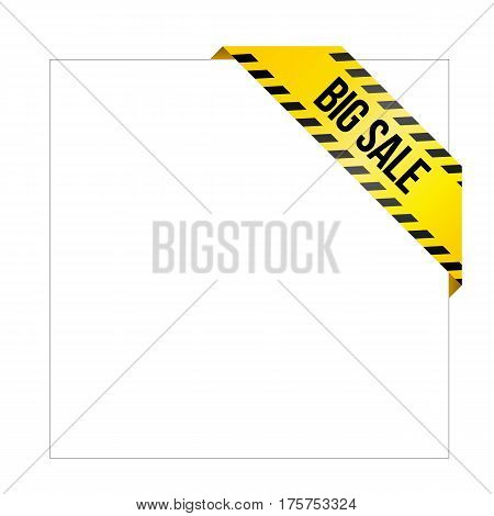 Yellow Caution Tape With Words 'big Sale', Corner Label