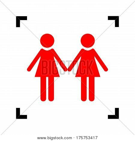 Lesbian family sign. Vector. Red icon inside black focus corners on white background. Isolated.