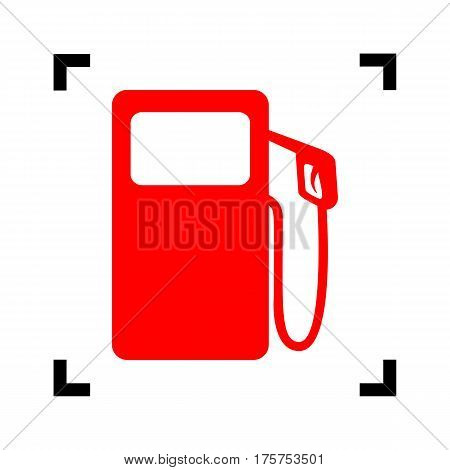 Gas pump sign. Vector. Red icon inside black focus corners on white background. Isolated.