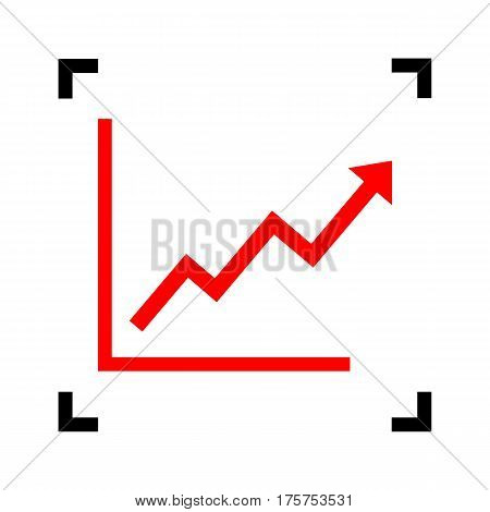 Growing bars graphic sign. Vector. Red icon inside black focus corners on white background. Isolated.