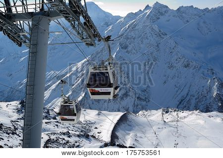 Elbrus Russia - January 28 2017: Ski lift to the mountain skiing track on Mount Elbrus top view.