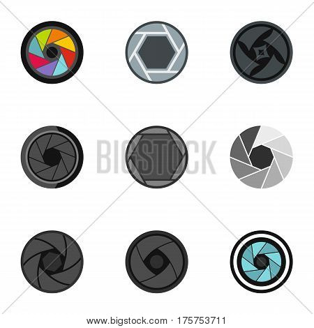 Camera shutter icons set. Flat illustration of 9 camera shutter vector icons for web