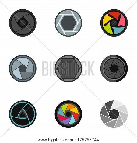 Focus photo icons set. Flat illustration of 9 focus photo vector icons for web