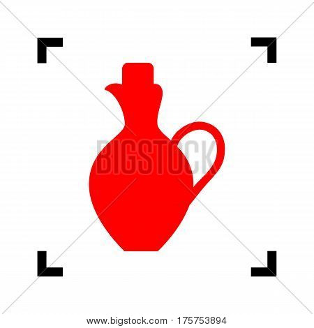 Amphora sign illustration. Vector. Red icon inside black focus corners on white background. Isolated.