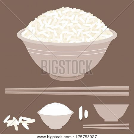 Rice vector in bowl with chopsticks, flat design