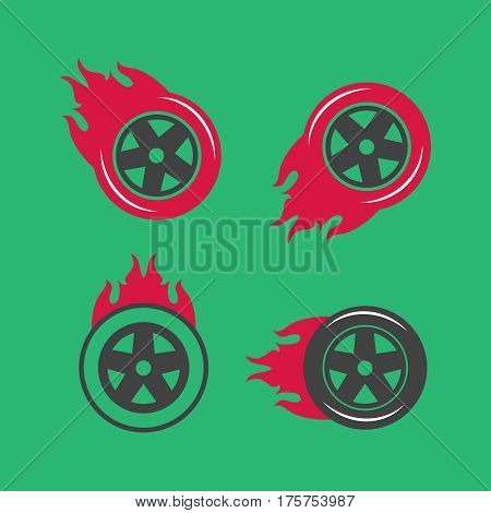 Colored racing tires vector emblems. racing tires vector