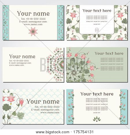 Set Of Six Horizontal Business Cards. Vintage Pattern In Modern Style With Aquilegia Plants. Complie