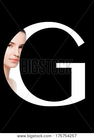 G letter beauty makeup girl creative fashion white font on black