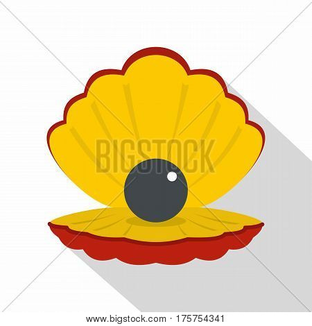 Black pearl in a sea shell icon. Flat illustration of black pearl in a sea shell vector icon for web isolated on white background