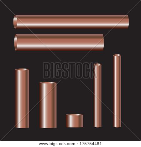 Copper pipes and hollow tons. Copper pipes vector