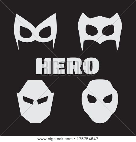 Super hero masks set. Superhero masks for face character in flat style. Super hero vector