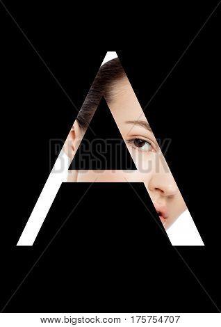 A letter beauty makeup girl creative fashion white font on black