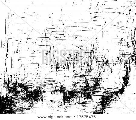 Distressed Vector Texture In Monochrome Palette Paint Stroke Or Ink Grit On Paper Black