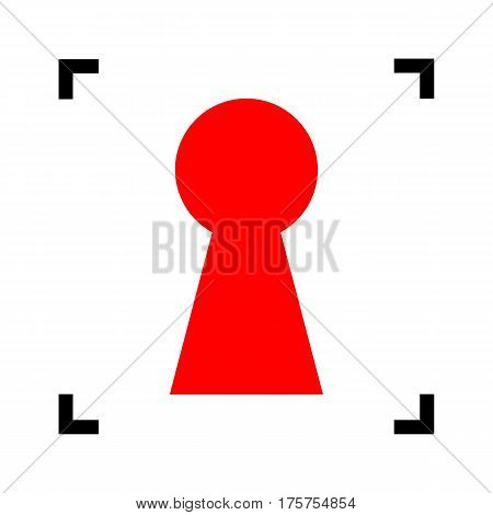Keyhole sign illustration. Vector. Red icon inside black focus corners on white background. Isolated.