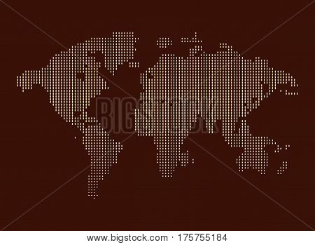 Isolated brown color worldmap of dots on white background, earth vector illustration.