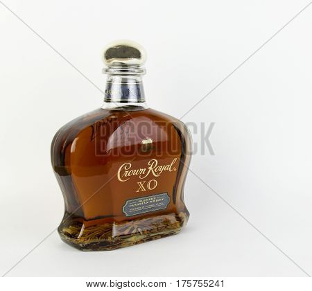 Spencer Wisconsin March 11 2017 Bottle of Crown Royal XO Whisky Crown Royal originated in Canada in 1939