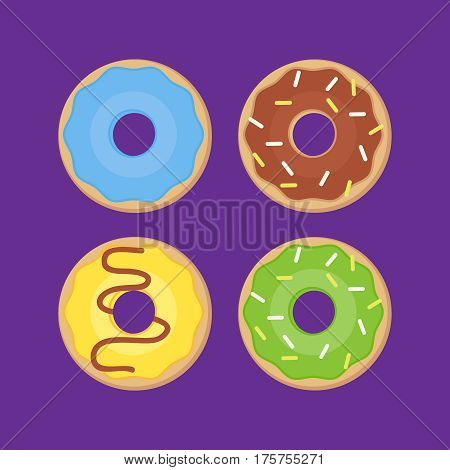 Sweets donuts sugar glazed. Vector fries pastry doughnut icons. Sweets donuts vector