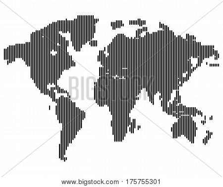Isolated dark grey color worldmap of lines on white background, earth vector illustration.