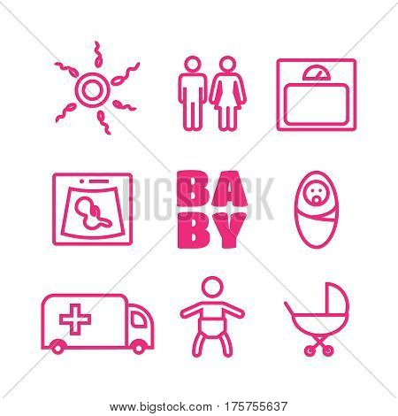 Medicine and pregnancy vector line icons set. Baby and weighing scales and uzi vector.