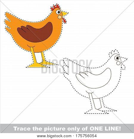 Brown Hen to be traced only of one line, the tracing educational game to preschool kids with easy game level, the colorful and colorless version.