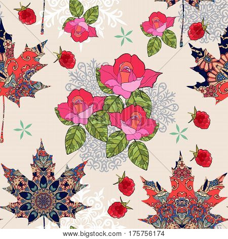 Autumn seamless pattern with ornamental maple leaves, snowflakes, bouquet of roses and raspberries in warm tones. Vector illustration.