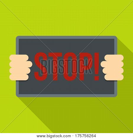 Hands holding stop placard icon. Flat illustration of hands holding stop placard vector icon for web isolated on lime background