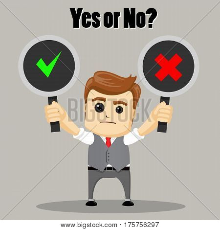 The businessman chooses between Yes and No. Undecided Businessman Making Decision. Vector illustration.