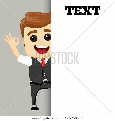 Man standing near the empty card. Businessman and your text. Happ business man. Vector illustration.