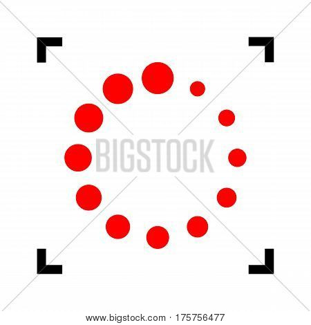 Circular loading sign. Vector. Red icon inside black focus corners on white background. Isolated.