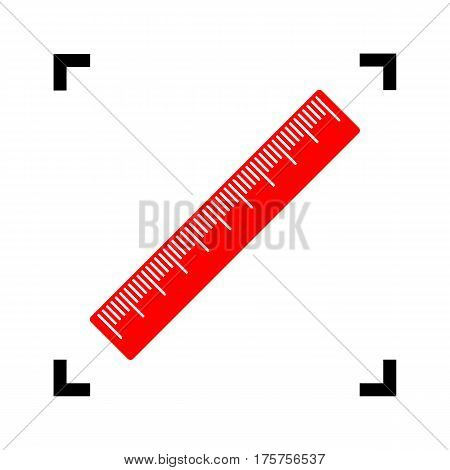 Centimeter ruler sign. Vector. Red icon inside black focus corners on white background. Isolated.