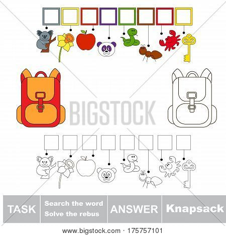Educational puzzle game for kids. Find the hidden word Knapsack