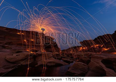 Swirl lights by steel wool at Sam Phan Bok /  jerk the steel wool light